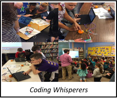 Link to Coding Whisperers unit. Picture is a collage of students working on coding challenges.