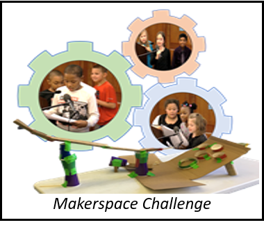 Link to Makerspace Challenge. A collage of students presenting their inventions.