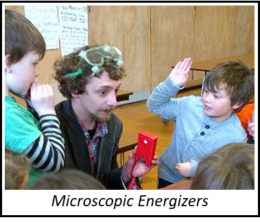 Link to Microscopic Energizers. Picture is Brent interacting with students.
